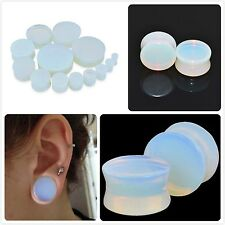 PAIR-Opalite Ear Gauges-Ear Plugs-Flesh Ear Tunnels-Organic Ear Gauges Plugs