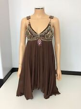 Matthew Williamson 100% Silk Brown Dress Beads & Stones Size 36 Uk 8 Shift