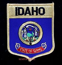 IDAHO STATE FLAG EMBROIDERED IRON ON SHIELD PATCH BOISE GEM STATE POTATO USA WOW