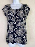 Ann Taylor Womens Size L Blue Floral Pattern Blouse Short Sleeve Scoop Neck