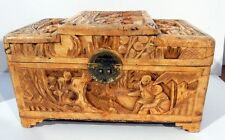 Vintage Ornately Hand Carved Chinese Wooden Box / Chest / Tea Caddy China
