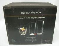 Vintage Indiana Glass 24-Pc Classic Barware Drinkware Drinking Glass Set MIB NOS