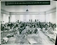 Chinese refugees gathered in a huge hall, Shanghai, War Japan China 1937. - 8x10