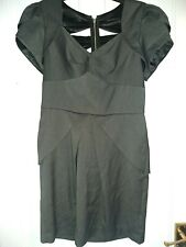 Lipsy Size 12 Grey Fitted Dress with a Peplum Skirt. Cut Out Back Detail