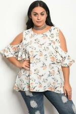 NEW..Stunning Plus Size Ivory Floral Print Cold Shoulder Top..Sz16-18/1XL