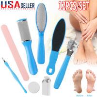 12PCS Pedicure Kit Set Callus Remover Rasp Foot File Scraper Nail Care Tools