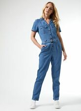 Dorothy Perkins Womens Tall Blue Boilersuit Buttoned Short Sleeve Collar Pockets