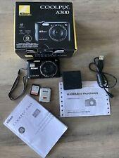 Nikon COOLPIX A300 Black Compact Digital Camera, 20.1MP, 8X Optical