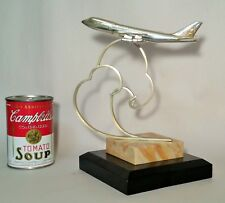 747 BOEING JAL jet japan airlines silver statue award trophy vtg airplane art