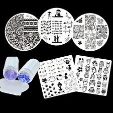 Nail Art Stamp Template Stencil Plates  Set W/Stamper Scraper DIY