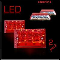2x 12V LED Plaque D'immatriculation Rouge Blanc Feux 3 Fonctions Remorque Camion