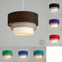 MiniSun 3 Tiered Fabric Ceiling Pendant Light Shade Easy Fit Lounge Lighting