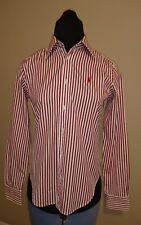 Authentic Ralph Lauren Designer Ladies Cotton Shirt Blouse Top Red Stripe Size 8