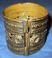 "Bracelet Vintage Cuff Afghan Kuchi Tribal Alpaca Silver 2"" tall 2.25"" dia"