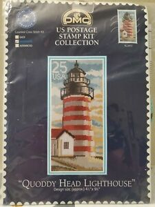 RARE DMC US Postage Stamp Kit Collection Quoddy Head Lighthouse Cross Stitch
