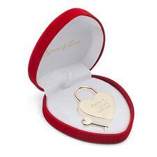 Herz Liebesschloss Gold in Herzbox mit Gravur Hochzeit Geburtstag Geld Geschenk