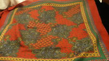 "Paisley cotton (?)  burgundy &  green  kerchief 30"" square scarf fringe hem S145"