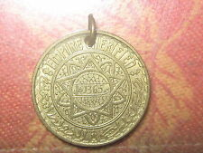 OLD VINTAGE ANTIQUE BRASS GOLD TONE MOROCCO SUN COIN PENDANT CHARM NECKLACE