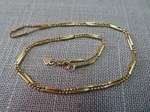"20"" Vtg 14K Beverly Hills Solid Y. Gold Bead & Bar Chain Necklace Spring Clasp"