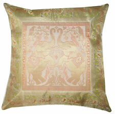 "Ethnic Ivory 17"" Cushion Pillow Cover Silk Brocade Sofa Throw Indian Home Decor"