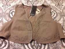 NEW Steilmann Brown Women Vest Waistcoat Sequins Non Closable Size 20