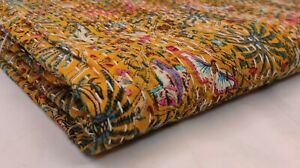 Indian Floral Kantha Quilting Hand Block Print Blanket Cotton Coverlet Bedding V