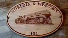 Class J Norfolk & Western #611 Railroad Engraved Wooden Sign / Train room / club