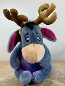 """Disney Store 12"""" Christmas EEYORE Plush w/Antlers and Gingle Bell Collar"""