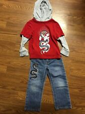 Toddler Boys Crazy Eight 8 Jeans and Hooded Shirt Size 3T