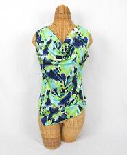 New Directions Petite Womens Sleeveless Blouse Top Green Blue Drape Neck Size PM