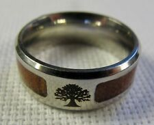 Stainless Steel World Tree Ring With Wood Inset Size 7.5