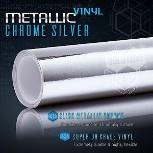 """24"""" x 60"""" In Silver Chrome Mirror Vinyl Wrap Film Roll Sheet Air Bubble Free"""