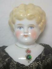 """Antique Blonde German China Head Doll Turned Head Embedded Jeweled Necklace 17"""""""