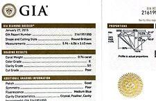 GIA loose certified SI1 E round diamond .76ct 5.94-6.06x3.43mm vintage estate