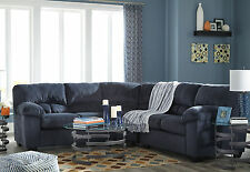 JODIE Modern Blue Microfiber Living Room Furniture Sofa Couch Sectional Set NEW