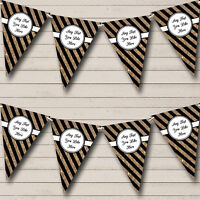 Black And Copper Gold Stripes Personalised Birthday Party Bunting Banner Garland