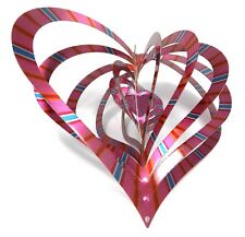 WorldaWhirl Whirligig 3D Heart Wind Spinner Reflective Stainless Kinetic Twister