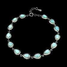 Pulsera de plata esterlina GENUINO LARIMAR Y Laboratorio Diamante 7 a 8 pulgadas