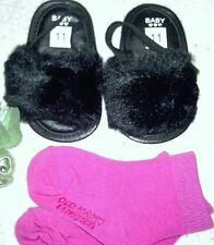 Girls/Infant/Baby Furry Plush Sandals Slip Ons Black & Old Navy Socks sz. 0-6 MO