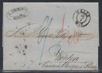 32817) HALLE 1857 Brief mit Inhalt nach Wohlen Schweiz BAHNPOST