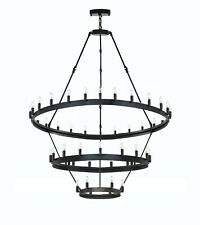 Wrought Iron Barn Castile 3 Tier Chandeliers Loft Rustic Lighting W 38? H 65?