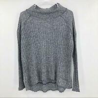 Free People Womens Mock Neck Raw Hem Sweater Size XS High Low Ribbed Raglan Gray