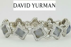 """David Yurman Quatrefoil 18K Blue Chalcedony 2.5 ct Round Diamond Bracelet 7"""""""