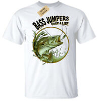 Bass Jumpers Drop A Line T-Shirt Mens fishing top fisherman anglers white