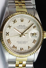ROLEX 36mm 18kt GOLD & Stainless DateJust Ivory Pyramid Roman 16233 SANT BLANC