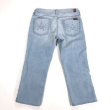 7 For all Mankind Jeans SZ 27 A Pocket Crop Stretch Blue Stitched Pockets Pants