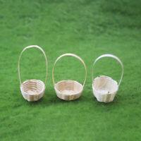 KE_ KQ_ Miniature Bamboo Basket Model Pretend Play Toy Dollhouse Decor Gift Ea