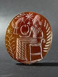 MASSIVE ANCIENT ROMAN INTAGLIO CARNELIAN STONE SEAL PENDANT - CIRCA 200-300 AD