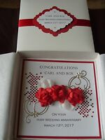 Handmade Personalised Keepsake Ruby Wedding Anniversary Card