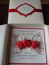 Handmade Personalised Keepsake Ruby Wedding Anniversary Card